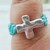 Teal & Turquoise Cross Ring Size 7