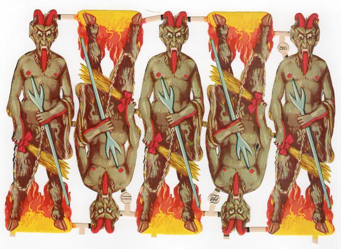 Vintage PZB Devil Die Cut Scrap, Krampus, Demon, Lucifer, Beelzebub, Embossed,