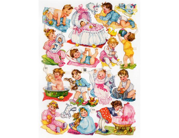 Vintage EAS Baby Die Cut Scraps, Toddlers, Bassinet, Stroller, Tub, Embossed