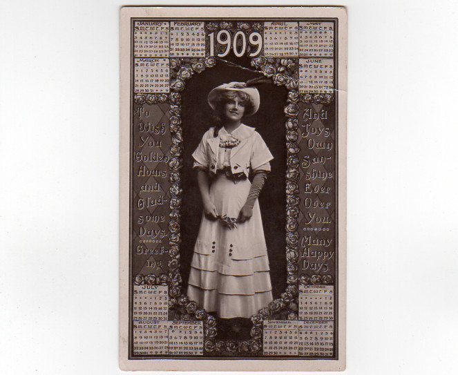 Vintage 1909 Calendar Postcard Rotary Photographic Series 12 Months 1908 Hanover
