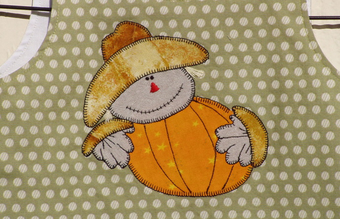Scarecrow Appliqued Fall A Line Baby Dress, OOAK
