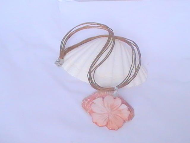 Six strand cord necklace with Peach flower pendant
