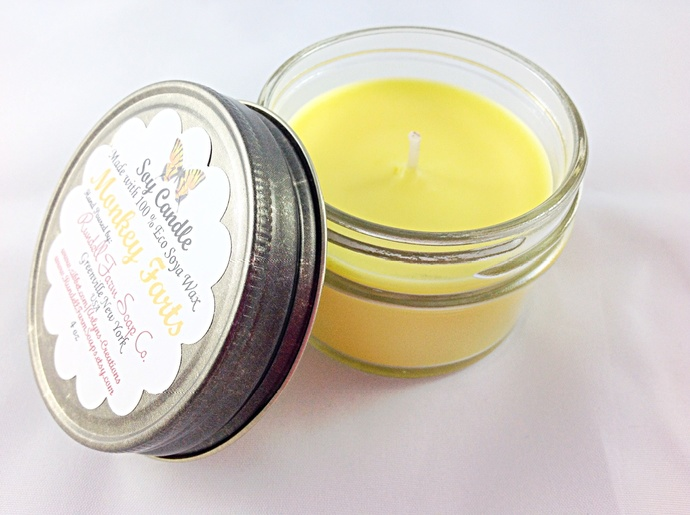 Monkey Farts candle,4 oz , Eco Soya,hand poured,scented candle,soy candles