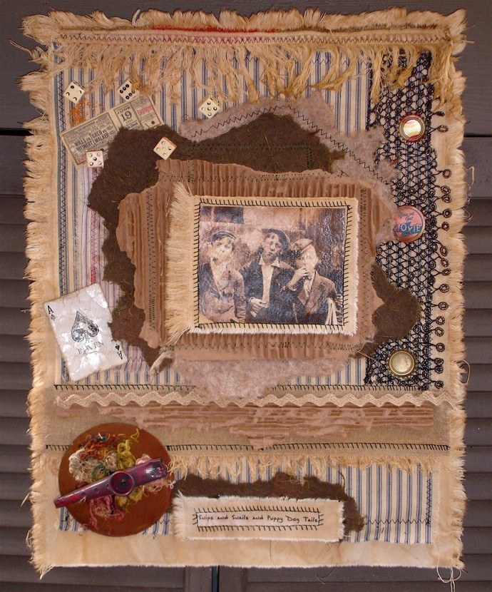 Collaged Fabric Wallhanging - Depression Tough Guys OOAK
