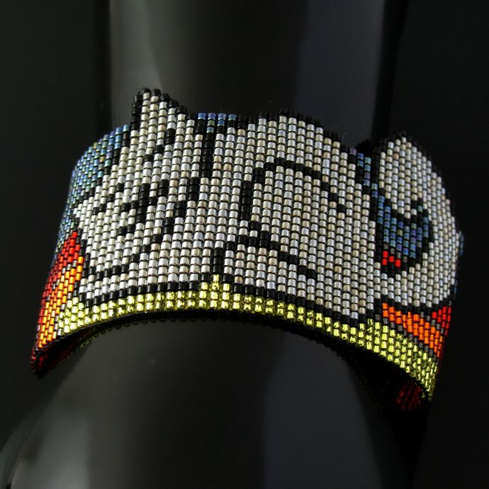 Bead loomed cat bracelet Petcat - A HeatherCat