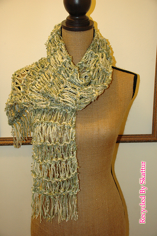 Green and Yellow Long Accessory Scarf / Handmade Accessories Scarf Knit