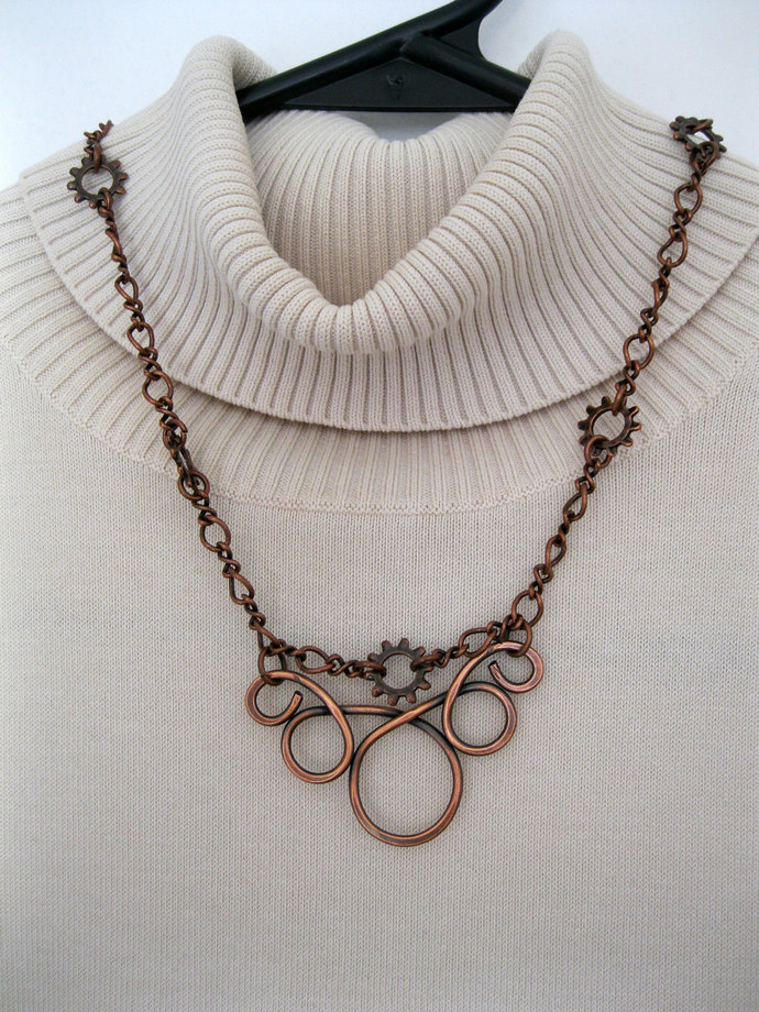 Copper necklace with spirals, circles and steampunk chain, metal necklace,