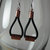 Copper, black leather and sterling silver earrings, leather earrings, metal