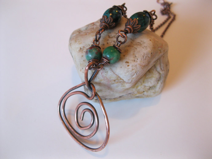 Copper necklace with round green jade beads, blue green beads and rolo chain