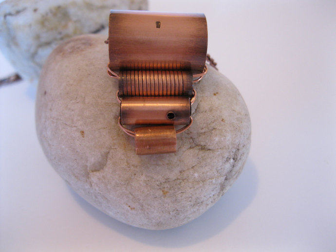 Copper necklace made with copper tube beads and small link copper chain, copper