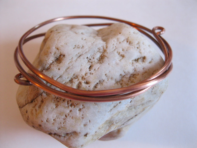 Copper bracelet bangle made with copper wire wrapped three times, bangle