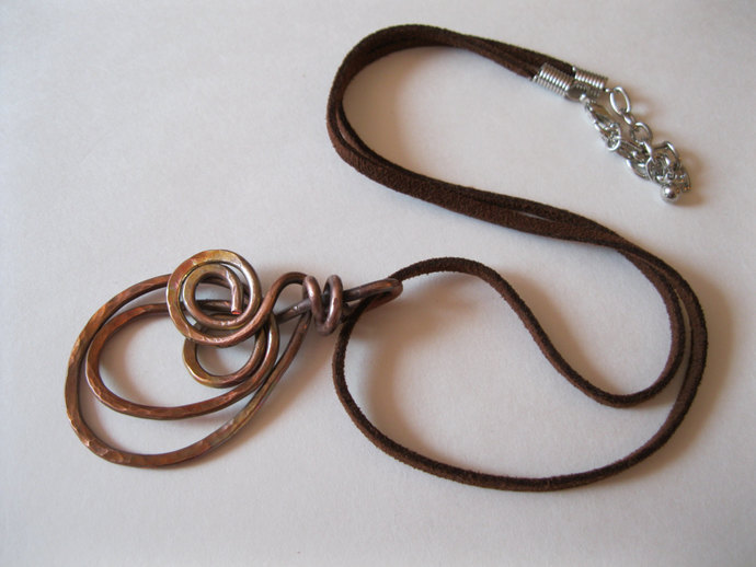 Handmade copper spiral necklace, metal necklace, copper circle necklace