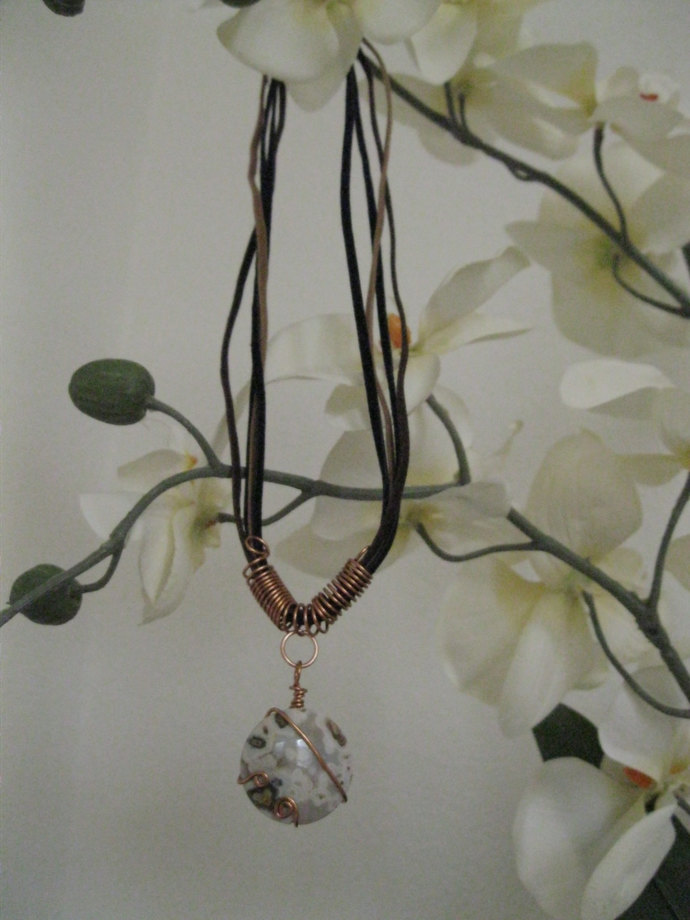 Copper necklace with hand wrapped round jasper bead and handmade copper wire