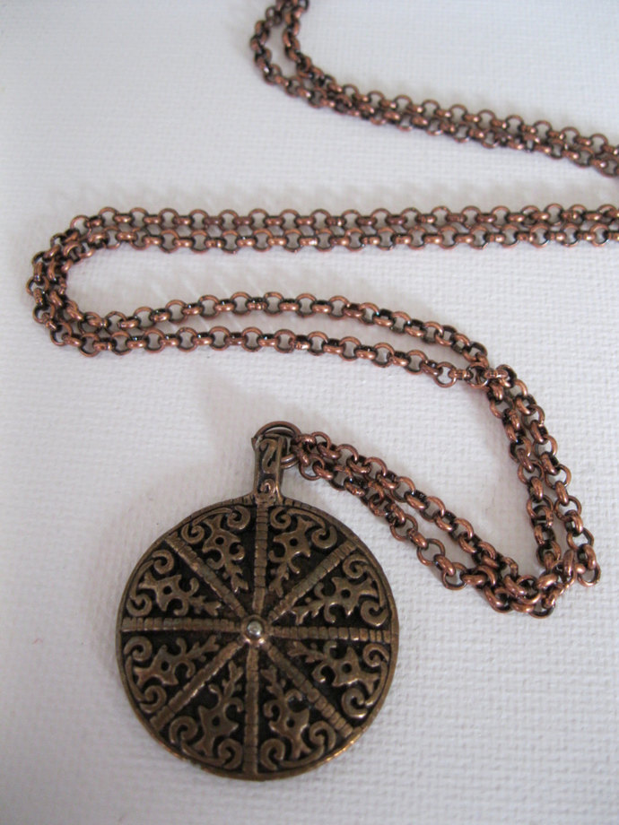 Long copper necklace with antiqued copper pendant and copper rolo chain, metal