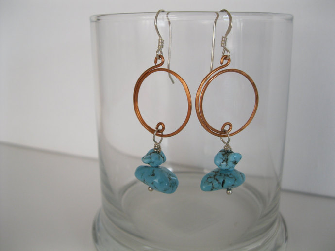 Turquoise nugget earrings made with handmade copper hoops and silver plated ear