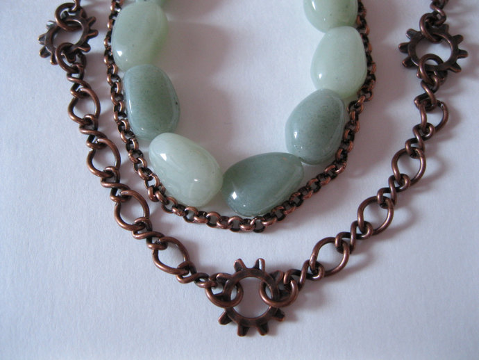 Aquamarine and antique copper chain triple strand long necklace, copper necklace