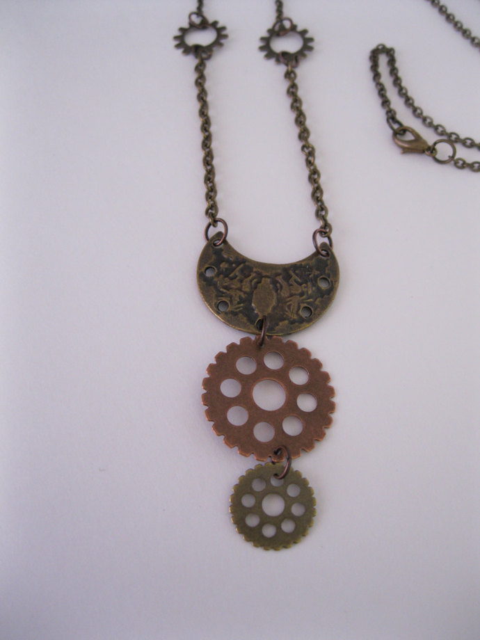 Steampunk mixed metal gear necklace, steampunk jewelry, mixed media necklace,