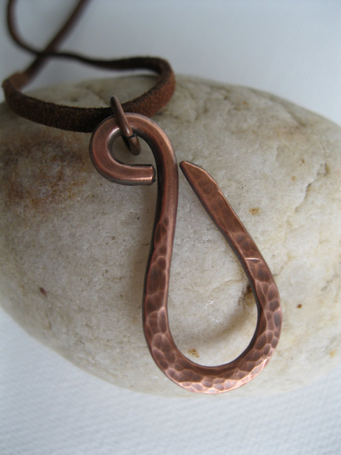 Hand forged copper swan necklace, copper necklace, unisex, minimalist necklace,