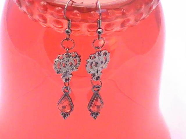 Gunmetal and Red Teardrop Earrings