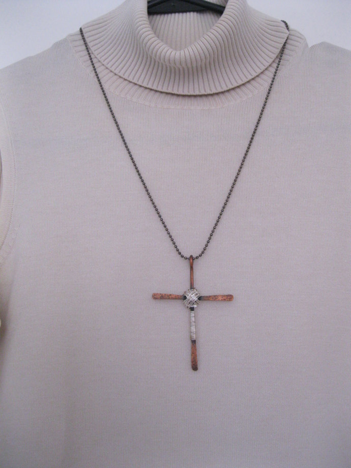 SALE: Handmade copper and silver cross, cross necklace, metal cross necklace