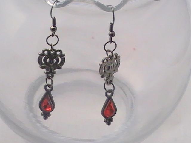 Gunmetal and Red Teardrop Earrings
