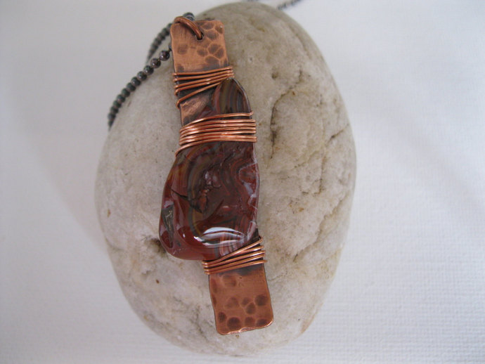 Agate and copper bar necklace, brown agate necklace, copper necklace, metal