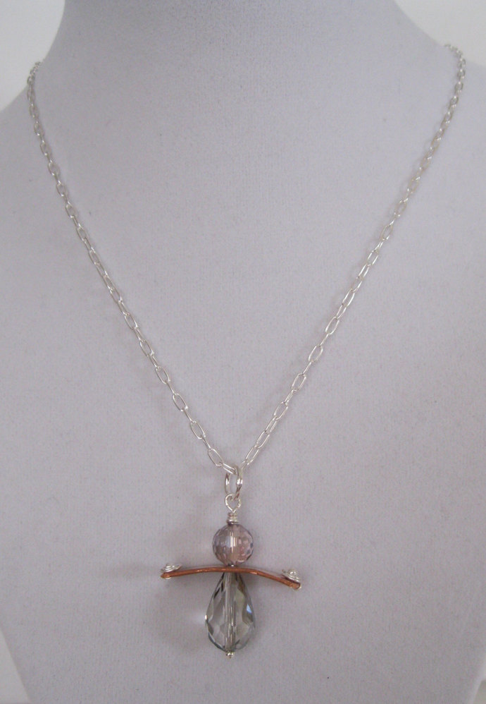 Sterling silver angel shape necklace, copper and crystal angel necklace, mixed