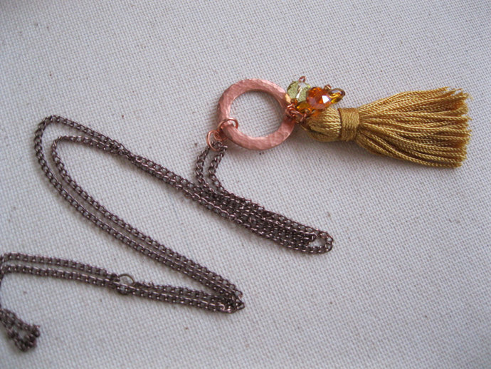 Yellow tassel and copper necklace, long necklace with tassel and crystal