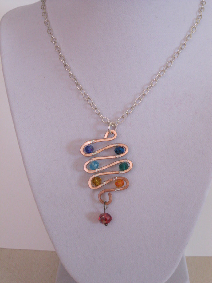 Chakra necklace, copper spiral necklace with rainbow beads, copper necklace,