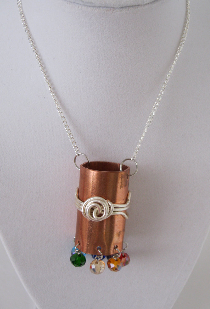 Chakra necklace, copper necklace, rainbow necklace, silver necklace, mixed metal