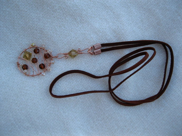 Copper necklace with crystals, copper necklace, leather necklace, crystal