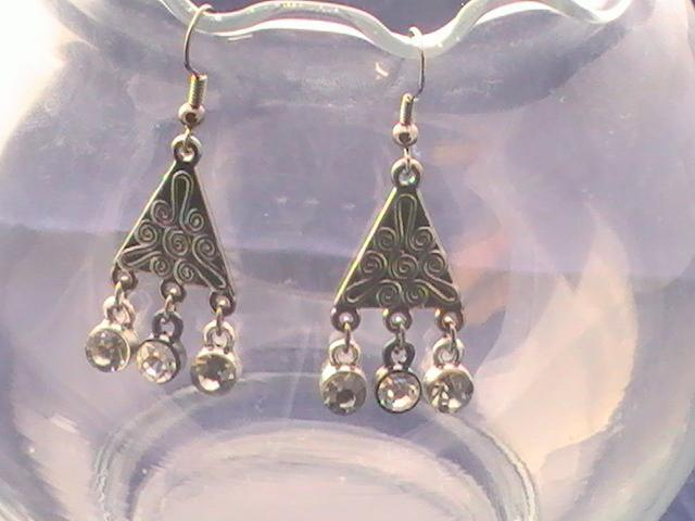 Triangle Gunmetal Earrings with Sparkles