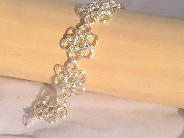 Silver Chainmaille Flower Bracelet and Earrings