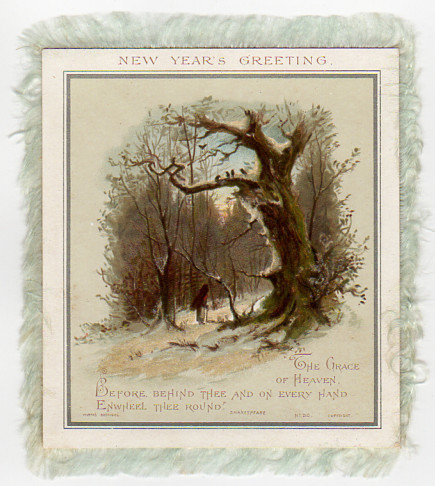 Victorian Silk Fringe Border, Double Sided New Year Card, Antique Holiday