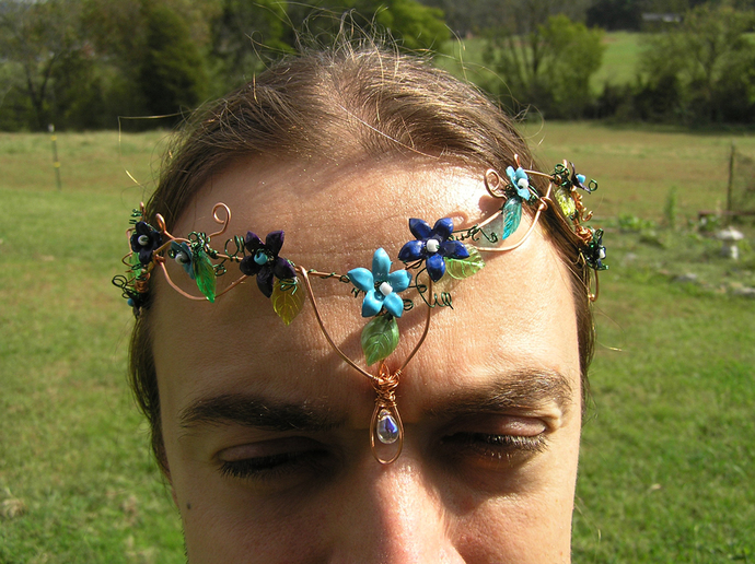 Copper wire woodland elf crown with flowers and leaves