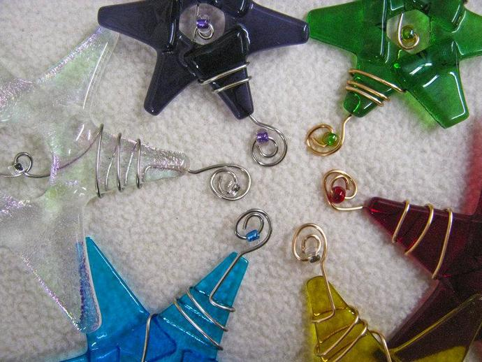 Mini Star Ornaments / Set of 3 / Your Choice of Colors in Rainbow Hues /