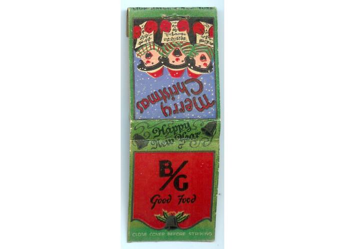 Vintage 1950s Christmas Caroler Matchbook Cover, B G Good Food, Chicago Illinois