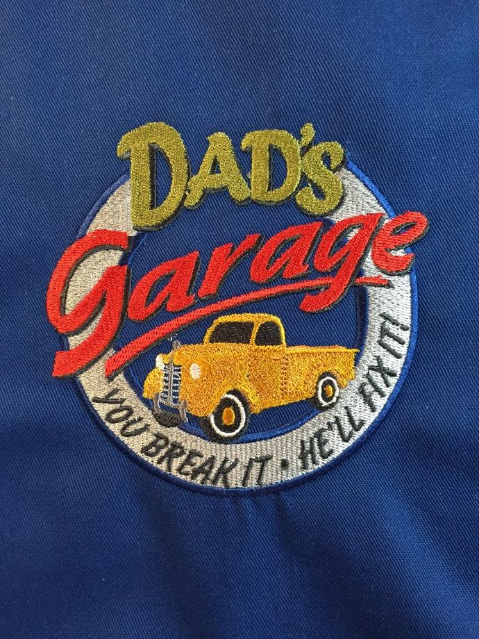 DAD'S GARAGE bibbed apron