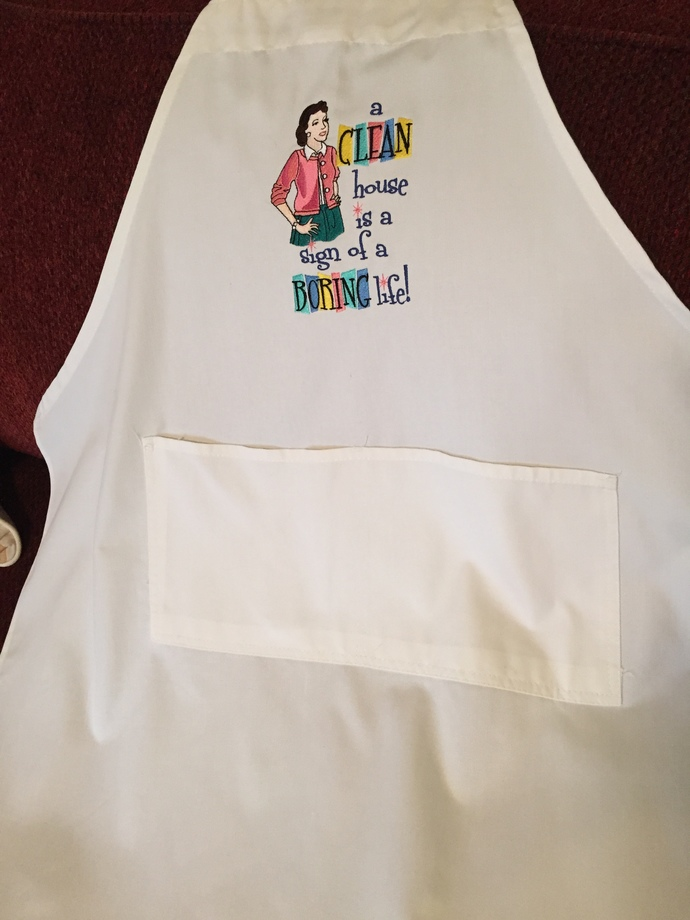 CLEAN HOUSE bibbed apron