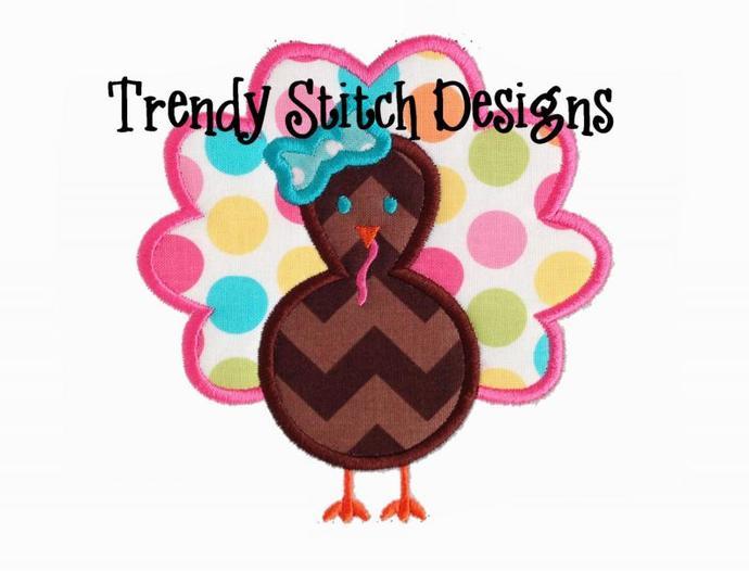 Turkey Scallop Bow Applique Design machine embroidery design