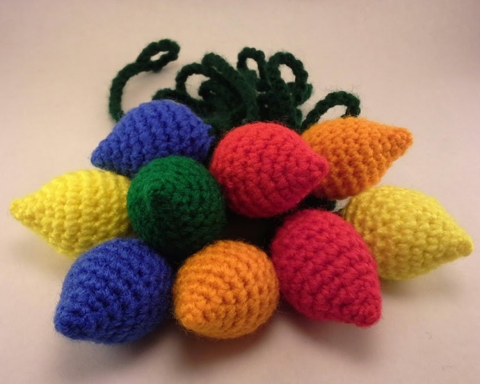 String of Crocheted Holiday Lights - Customize it!