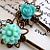 Turquoise Flower Rose Hair Slides Pins