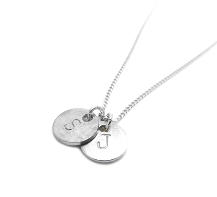 Alphabet Jewelery- 2 Hand Stamped Initial pendant bracelet- 2 handmade sterling