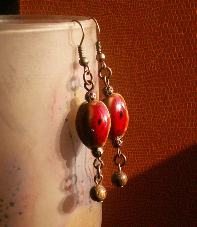 Coral red ceramics, repurposed wood and copper earrings