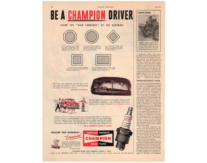 Vintage Champion Spark Plugs Magazine Print Ad, 1950 Auto Parts Advertising, Man