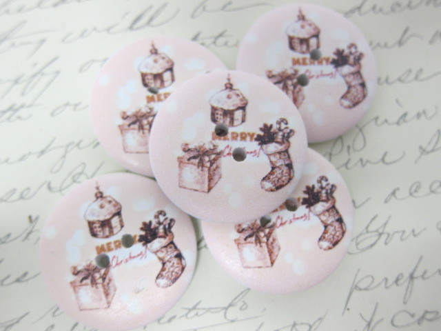 5 pcs Wooden Buttons - 30 mm Christmas Gift