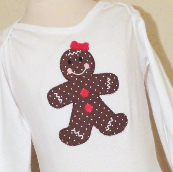 Gingerbread Girl Applique Machine Embroidery Design
