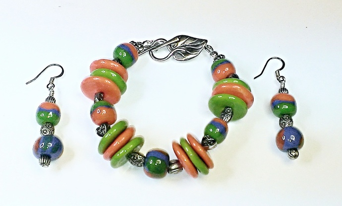 Kazuri Bracelet & Earring Set, Item #391