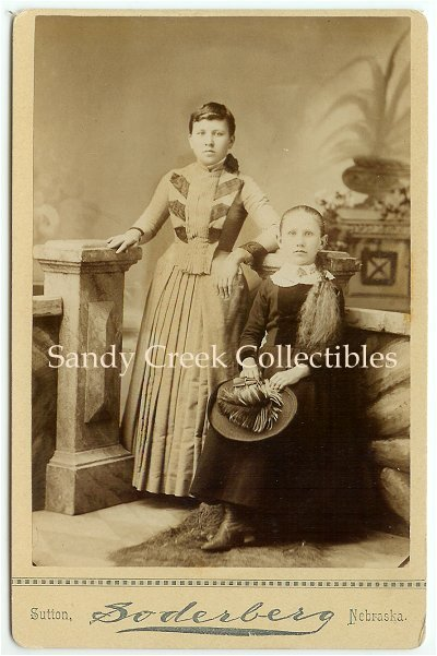 Antique Cabinet Photo Victorian Girls with Feather Hat Sutton Nebraska Soderberg