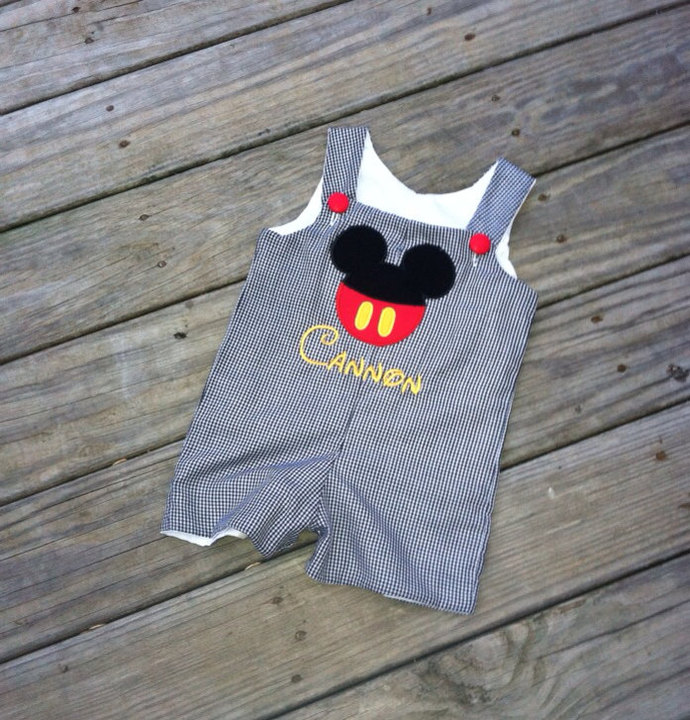 Black gingham Mickey Mouse  outfit boutique Disney  button face Jon Jon